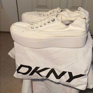 DKNY white platform sneakers